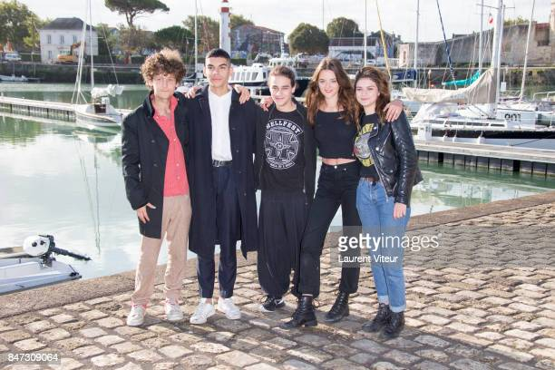 Actors Gregoire Montana Sami Outalbali Theophile Baquet Adele Wismes and Romane Lucas attend 'Les Grands' Photocall during the 19th Festival of TV...