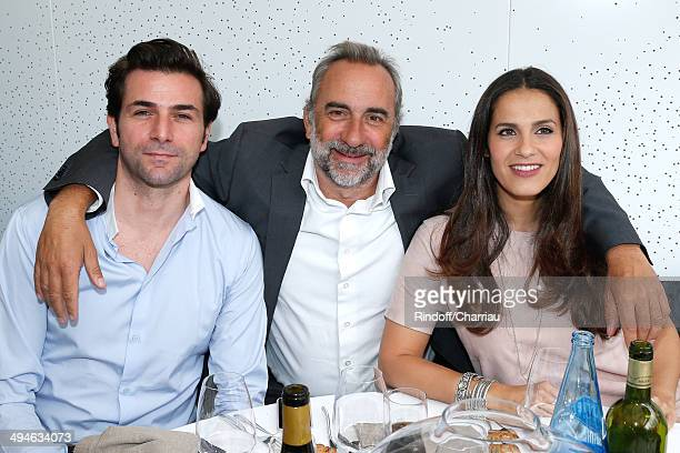 Actors Gregory Fitoussi Antoine Dulery and Elisa Tovati attend the Roland Garros French Tennis Open 2014 Day 6 on May 30 2014 in Paris France