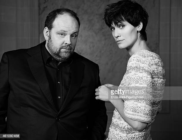 Actors Gregory Gadebois and Clotilde Hesme are photographed for Madame Figaro on November 24 2014 in Paris France Clotilde Dress Gregory Jacket and...