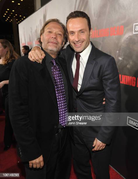 "Actors Gregory Nicotero and Andrew Lincoln attend the AMC premiere of ""The Walking Dead"" at ArcLight Cinemas Cinerama Dome on October 26, 2010 in..."