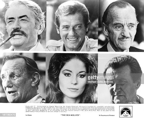 Actors Gregory PeckRoger Moore and David Niven Actor Patrick Macnee actress Barbara Kellerman and Trevor Howard on set of the Paramount Pictures...