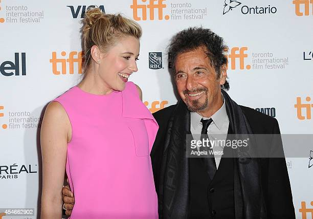 Actors Greta Gerwig and Al Pacino arrive at 'The Humbling' Premiere during the 2014 Toronto International Film Festival at The Elgin on September 4...