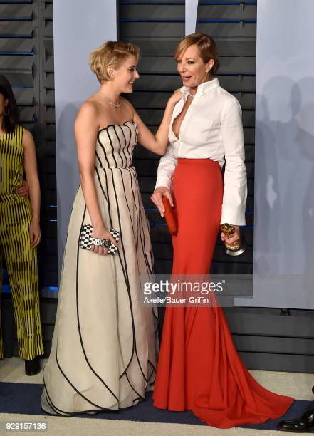 Actors Greta Gerwig and Allison Janney attend the 2018 Vanity Fair Oscar Party hosted by Radhika Jones at Wallis Annenberg Center for the Performing...