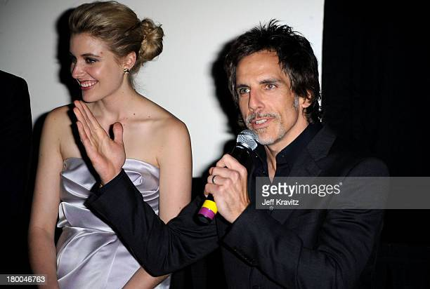Actors Greta Gerwig and Ben Stiller speak at the premiere of Greenberg presented by Focus Features at ArcLight Hollywood on March 18 2010 in...