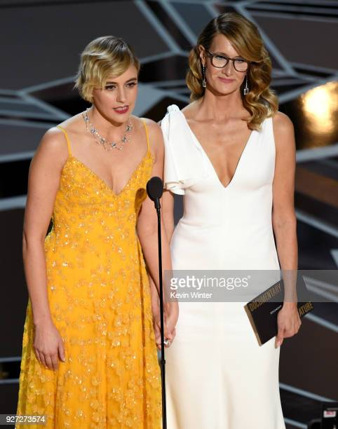 Actors Greta Gerwig and Laura Dern speak onstage during the 90th Annual Academy Awards at the Dolby Theatre at Hollywood Highland Center on March 4...