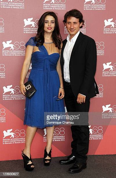Actors Greta Scarano and Michele Alhaique attend the Qualche Nuvola The Cricket Photocall during the 68th Venice International Film Festival at...