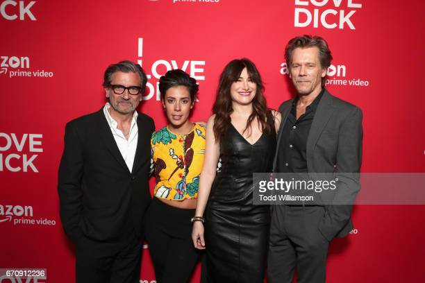 Actors Griffin Dunne Roberta Colindrez Kathryn Hahn and Kevin Bacon attend the red carpet premiere of Amazon's forthcoming series 'I Love Dick' at...