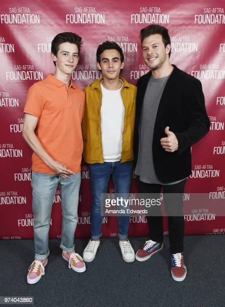 Actors Griffin Gluck Tyler Alvarez and Jimmy Tatro attend the SAGAFTRA Foundation Conversations screening of American Vandal at the SAGAFTRA...