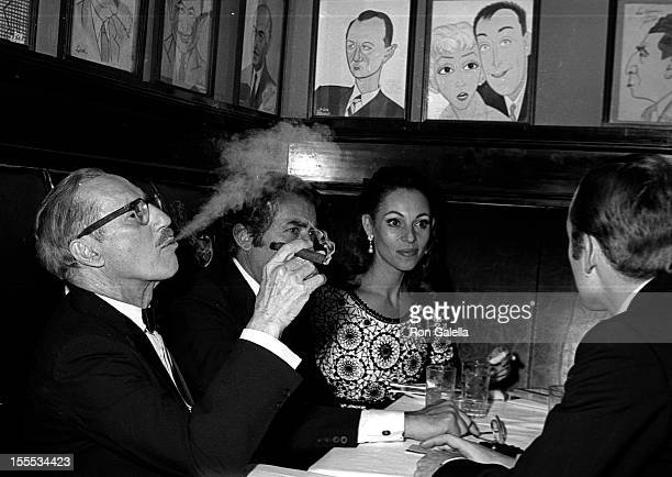 Actors Groucho Marx, Gregory Peck and wife Veronique Peck attend the party for 22nd Annual Tony Awards on April 21, 1968 at Sardi's Restaurant in New...