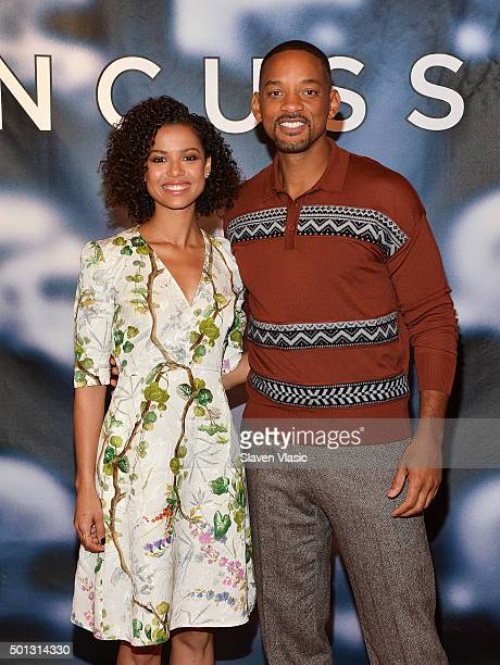 """Actors Gugu Mbatha-Raw and Will Smith attend """"Concussion"""" cast photo call at Crosby Street Hotel on December 14, 2015 in New York City."""