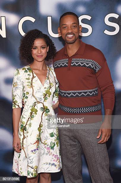"""Actors Gugu Mbatha-Raw and Will Smith attend the """"Concussion"""" cast photo call at Crosby Street Hotel on December 14, 2015 in New York City."""