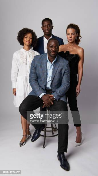 Actors Gugu MbathaRaw Damson Idris and Kate Beckinsale and filmmaker Adewale AkinnuoyeAgbaje from the film 'Farming'' pose for a portrait during the...