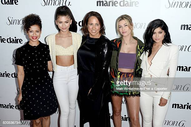 Actors Gugu MbathaRaw Zendaya EditorinChief Marie Claire Anne Fulenwider tv personality Kylie Jenner and model Hailey Baldwin attend the Fresh Faces...