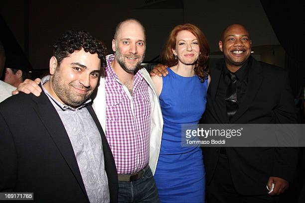 Actors Guido Grasso Carlo Mestroni Andrea Frankle and Kwasi Songui attend the 'Nicky Deuce' Los Angeles premiere after party held at ArcLight...