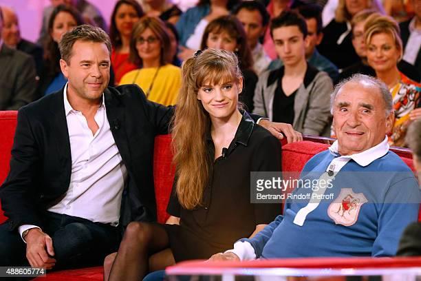 Actors Guillaume de Tonquedec Noemie Schmidt and Claude Brasseur present the movie L'etudiante et Monsieur Henri' during the 'Vivement Dimanche'...