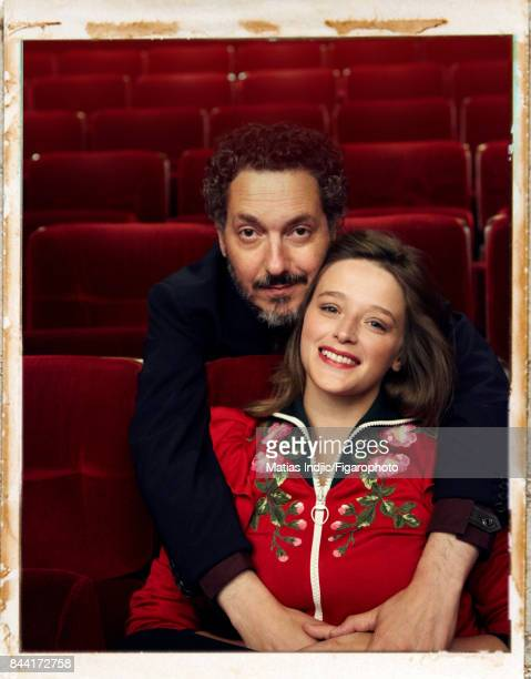 Actors Guillaume Gallienne and Adeline d'Hermy are photographed for Madame Figaro on July 3 2017 in Paris France Gallienne Shirt and jacket d'Hermy...