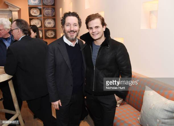 Actors Guillaume Gallienne and Nicolas Messica attends the 'Cezanne Et Moi' New York premiere after party at the Whitby Hotel on March 22 2017 in New...