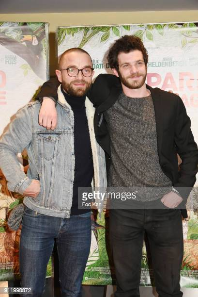 Actors Guillaume Gouix and Felix Moati attend the 'Gaspard va au mariage' premiere at UGC Cine Cite des Halles on January 29 2018 in Paris France