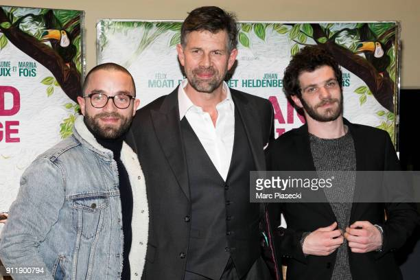 Actors Guillaume Gouix Johan Heldenbergh and Felix Moati attend the 'Gaspard va au mariage' Premiere at UGC Cine Cite des Halles on January 29 2018...