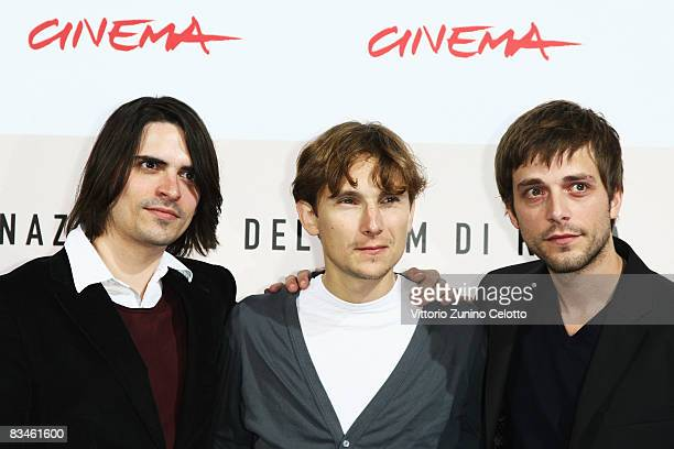 Actors Guillaume Quatravaux Julien Baumgartner and Lorant Deutsch attends the 'The Joy Of Singing' photocall during the 3rd Rome International Film...