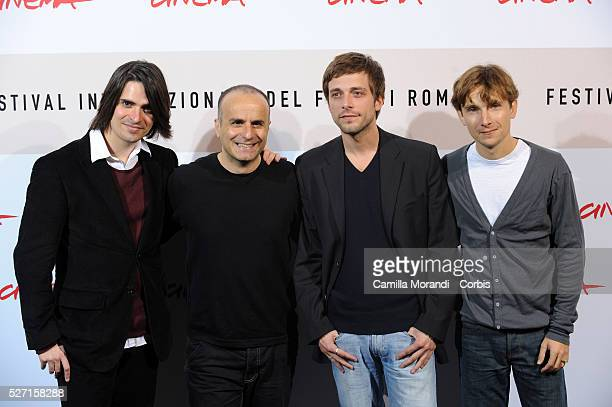Actors Guillaume Quatravaux Julien Baumgartner Lorant Deutsch and director Ilan Duran Cohen attend the photo call of Le Plaisir de Chanter during the...