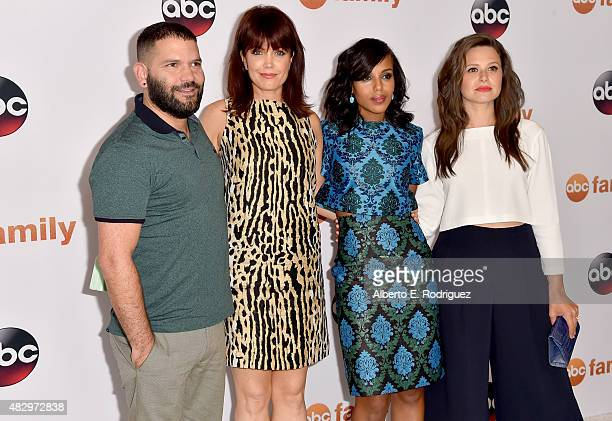 Actors Guillermo Diaz Bellamy Young Kerry Washington and Katie Lowes attend Disney ABC Television Group's 2015 TCA Summer Press Tour at the Beverly...