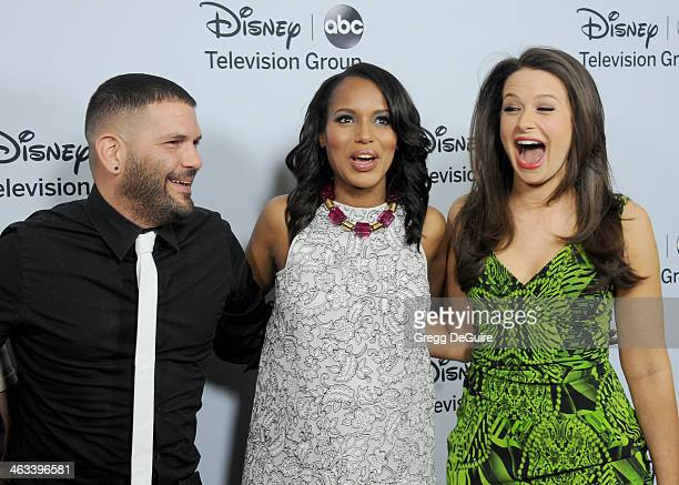 "Actors Guillermo Diaz, Kerry Washington and Katie Lowes of ""Scandal"" arrive at the ABC/Disney TCA Winter Press Tour party at The Langham Huntington..."