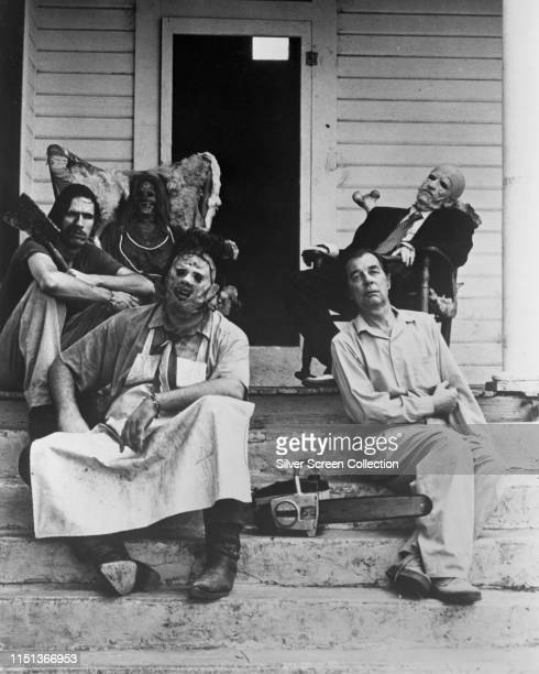 Actors Gunnar Hansen as Leatherface Jim Siedow as Old Man John Dugan as Grandfather and Edwin Neal as Hitchhiker in a publicity shot for the slasher...