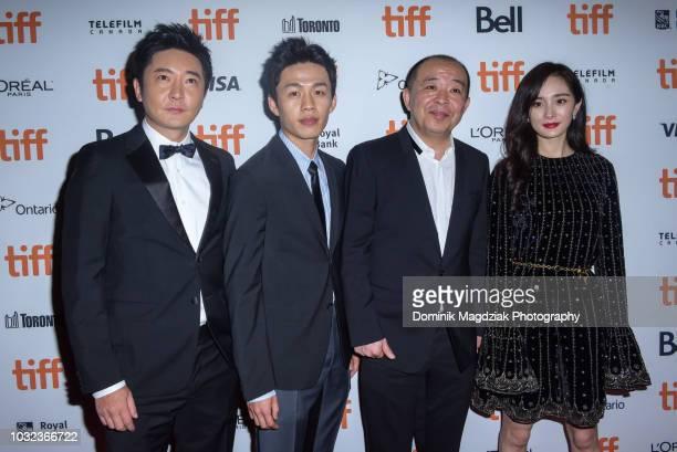 Actors Guo Jingfei Lee Hongchi director Liu Jie and actress Yang Mi attend the Baby red carpet premiere during the 2018 Toronto International Film...