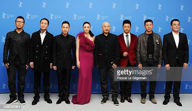 """Actors Guo Tao, Wu Gang, Cheng Taisheng, actress Zhang Yugi,director Wang Quan'an, Duan Yihong,Zhang Fenggyi and Liu Wei attend the """"Bai Lu Yuan""""..."""