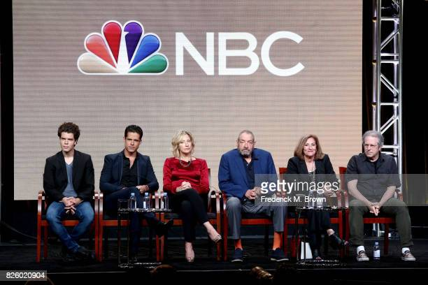 Actors Gus Halper Miles Gaston Villanueva Edie Falco executive producer/creator Dick Wolf executive producer/director Lesli Linka Glatter executive...