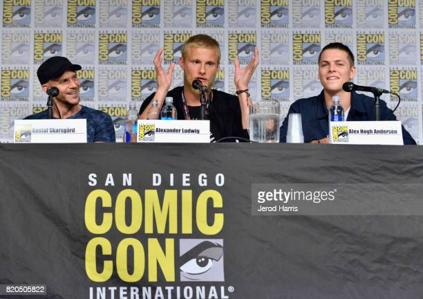 Actors Gustaf Skarsgard Alexander Ludwig and Alex Hogh Andersen attend the 'Vikings' panel during San Diego ComicCon International 2017 at San Diego...