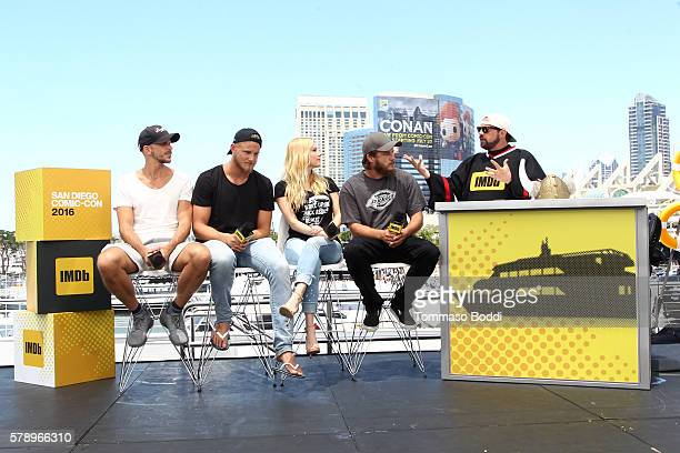 Actors Gustaf Skarsgard Alexander Ludwig Katheryn WinnickTravis Fimmel and host Kevin Smith attend the IMDb Yacht at San Diego ComicCon 2016 Day Two...