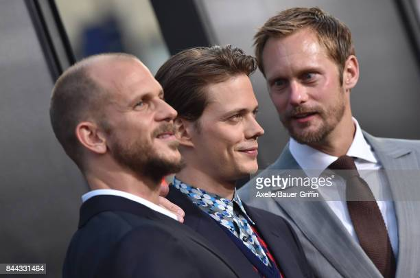 Actors Gustaf Skarsgard Bill Skarsgard and Alexander Skarsgard arrive at the premiere of 'It' at TCL Chinese Theatre on September 5 2017 in Hollywood...