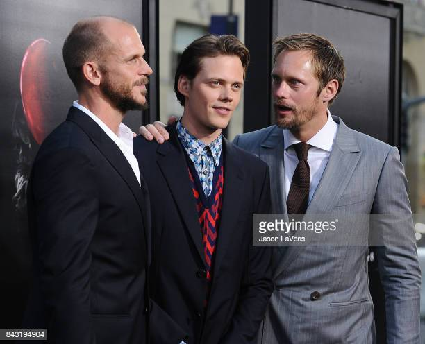 Actors Gustaf Skarsgard Bill Skarsgard and Alexander Skarsgard attend the premiere of 'It' at TCL Chinese Theatre on September 5 2017 in Hollywood...