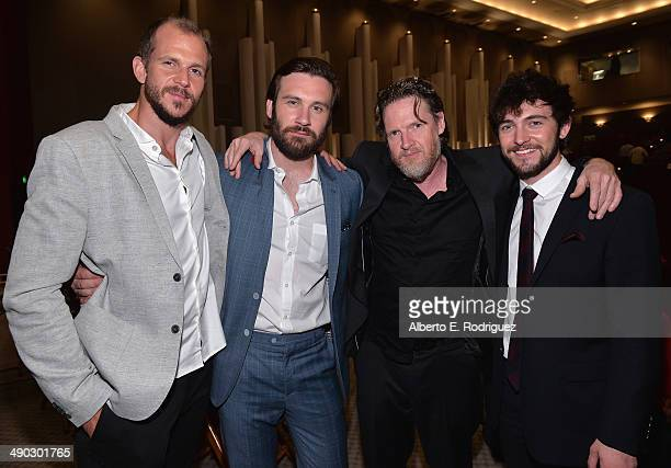 Actors Gustaf Skarsgard Clive Standen Donal Logue and George Blanden attend History Channel's Vikings Panel Discussion and Reception at Leonard H...