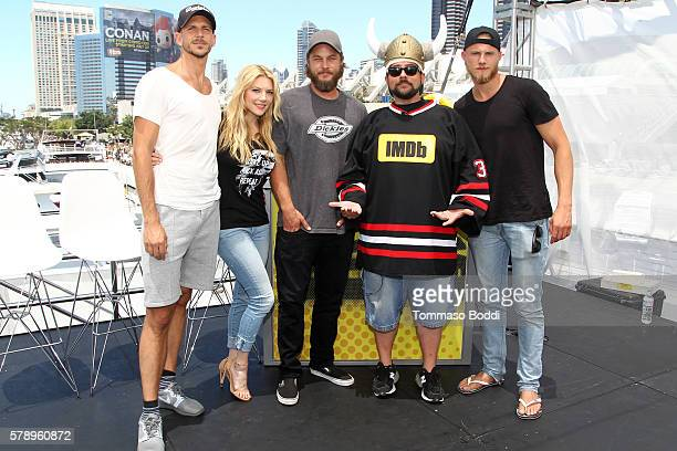 Actors Gustaf Skarsgard Katheryn WinnickTravis Fimmel host Kevin Smith and Alexander Ludwig of Vikings attend the IMDb Yacht at San Diego ComicCon...