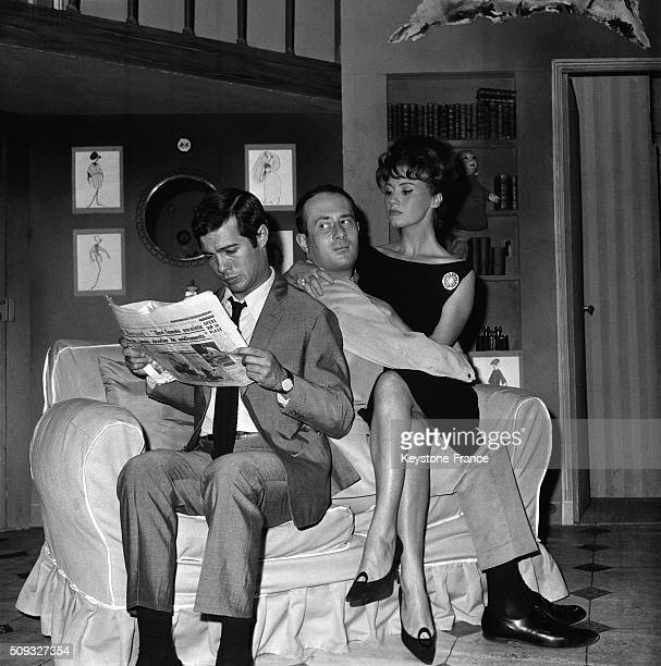 Actors Guy Bedos Sacha Briquet And Geneviève Fontanel Playing 'L'Idée D'Elodie' At the Théâtre Michel in Paris France in September 1962
