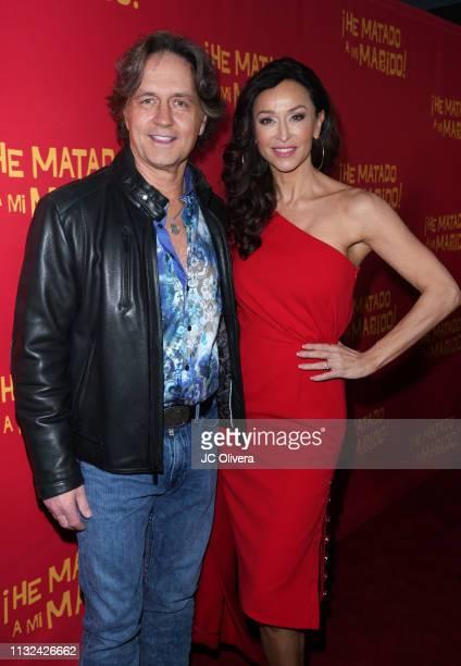 Actors Guy Ecker and Sofia Milos attend 'HE MATADO A MI MARIDO' Los Angeles Premiere at Harmony Gold Theatre on February 26 2019 in Los Angeles...