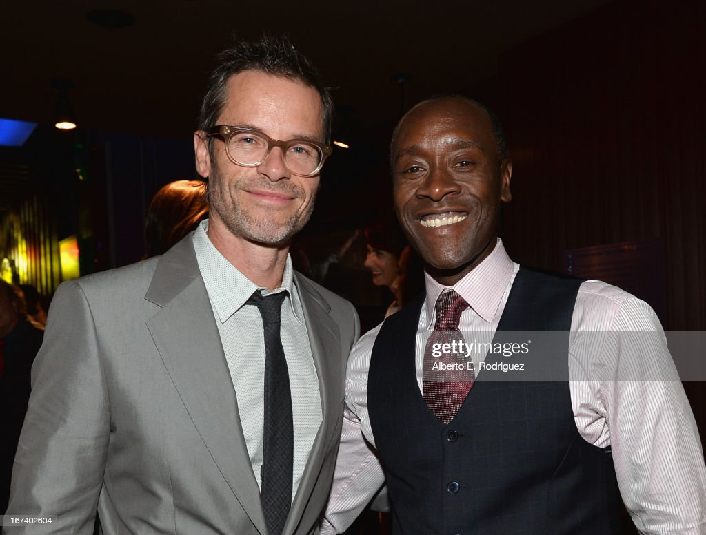Actors Guy Pearce and Don Cheadle attend Marvel's Iron Man 3 Premiere after party at Hard Rock Cafe on April 24, 2013 in Hollywood, California.
