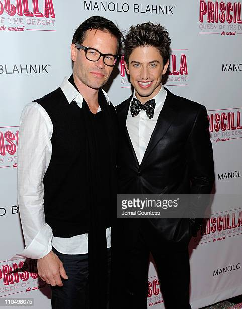 Actors Guy Pearce and Nick Adams attend the after party for the Broadway opening night of Priscilla Queen of the Desert The Musical at Pier 60 on...