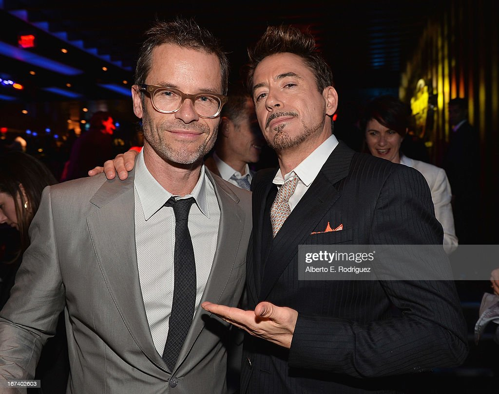 Actors Guy Pearce and Robert Downey Jr. attend Marvel's Iron Man 3 Premiere after party at Hard Rock Cafe on April 24, 2013 in Hollywood, California.