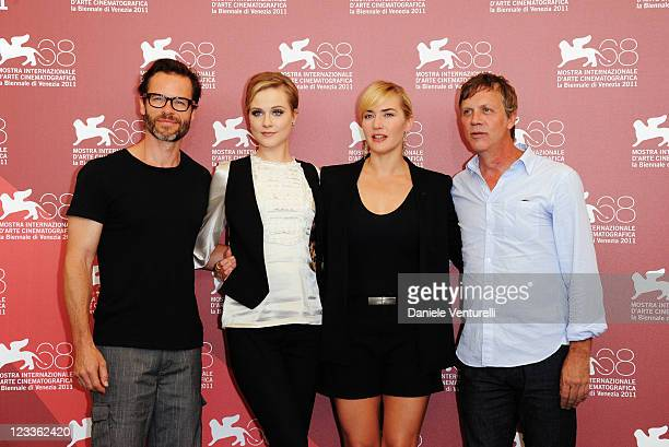 """Actors Guy Pearce, Evan Rachel Wood, Kate Winslet and director ToddHaynes attend the """"Mildred Pierce"""" Photocall during the 68th Venice International..."""