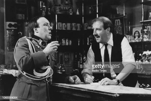 Actors Guy Siner and Gordon Kaye in a scene from the television sitcom ''Allo 'Allo' May 16th 1986