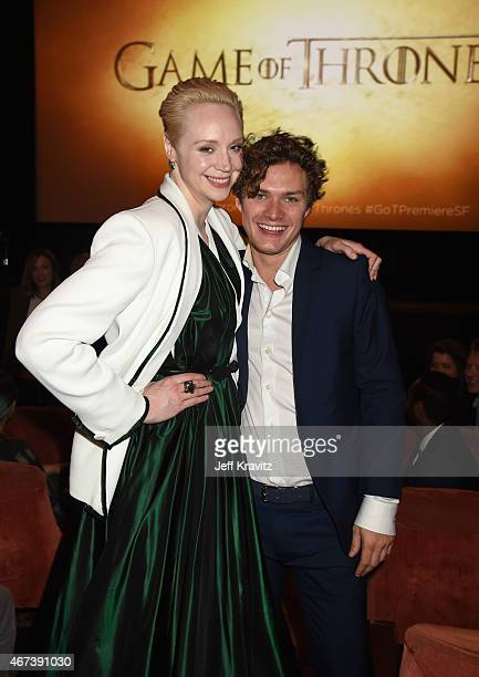 Actors Gwendoline Christie and Finn Jones attend the after party for HBO's 'Game of Thrones' Season 5 at San Francisco City Hall on March 23 2015 in...