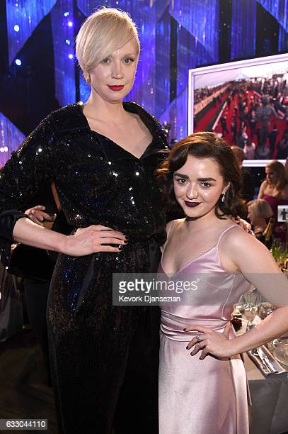 Actors Gwendoline Christie and Maisie Williams attend the 23rd Annual Screen Actors Guild Awards Cocktail Reception at The Shrine Expo Hall on...