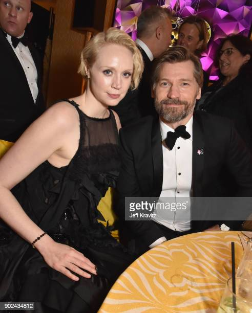 Actors Gwendoline Christie and Nikolaj CosterWaldau attend HBO's Official 2018 Golden Globe Awards After Party on January 7 2018 in Los Angeles...