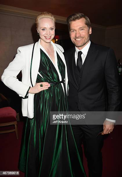 Actors Gwendoline Christie and Nikolaj CosterWaldau attend the after party for HBO's 'Game of Thrones' Season 5 at San Francisco City Hall on March...