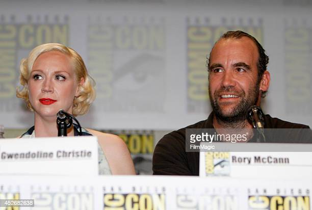 Actors Gwendoline Christie and Rory McCann attend HBO's 'Game of Thrones' Panel during ComicCon 2014 on July 25 2014 in San Diego California