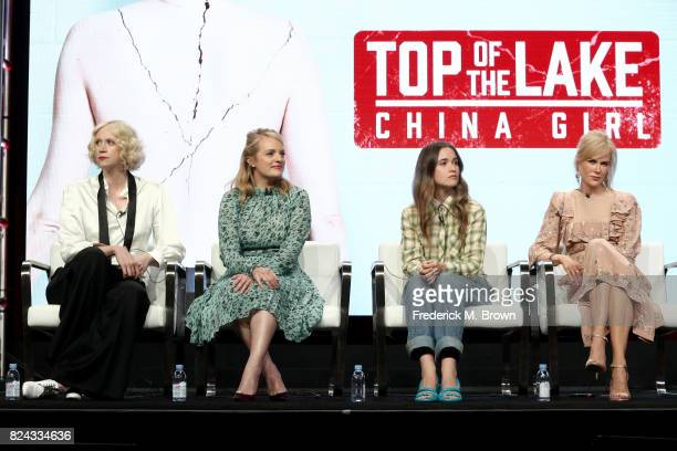 Actors Gwendoline Christie Elisabeth Moss Alice Englert and Nicole Kidman of 'Top of the Lake China Girl' speak onstage during the SundanceTV portion...